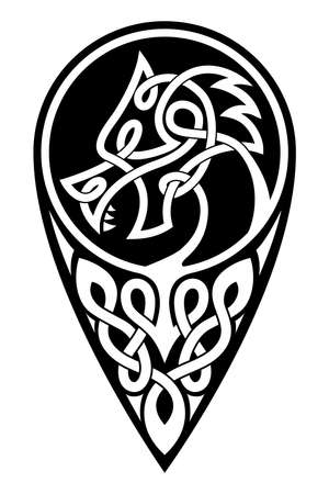 Celtic national dragon tattoo ornament and interweaving ribbon Isolated on white background. Vector Illustration