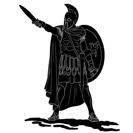 Ancient Greek warrior with a sword and shield in his hands is ready to attack. Vector illustration isolated on white background.