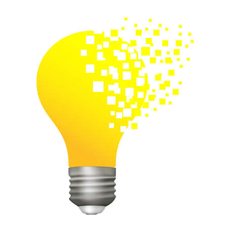 Vector yellow light bulb with a cap with mosaic elements isolated on white background. Stock Illustratie