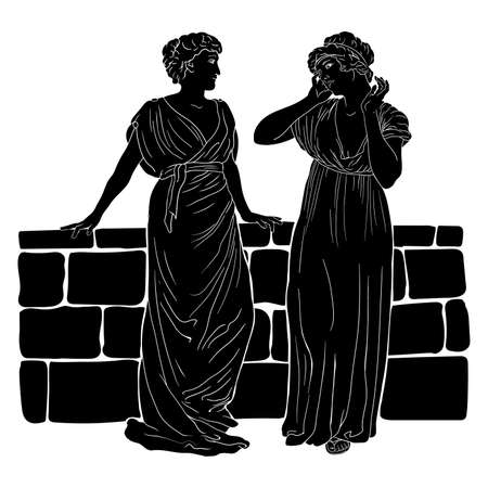 Two ancient Greek women in tunics is stand near the stone parapet and talking. Vector image isolated on white background.