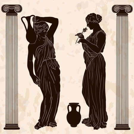 Two young slender ancient Greek women in jugs are standing and talking.