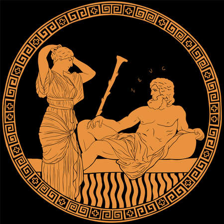The ancient Greek god Zeus and a young woman a slave. Drawing on the bottom of an antique clay pottery. Stock Illustratie