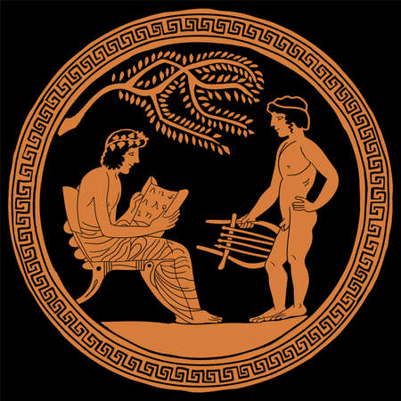 Ancient Greek pottery painting. A young apprentice musician with a harp in his hands is standing in front of a teacher.
