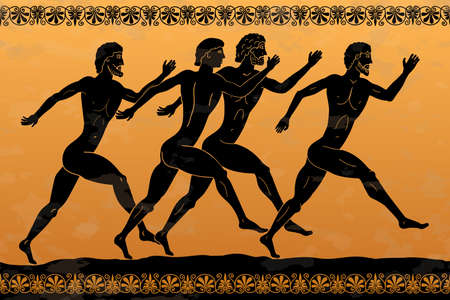 Four ancient Greek men run along the road. Competition athletes.