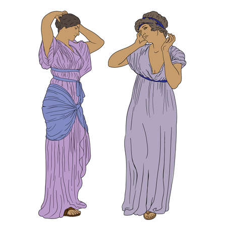 Two ancient Greek women in tunics stand and straighten their hairstyles. Two figures isolated on a white background.