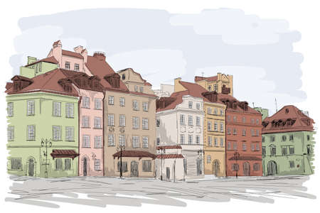 An old European city with colorful multi-story buildings. Many windows overlooking the street.