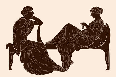 Two ancient Greek young women sit in the bedroom and have a dialogue.