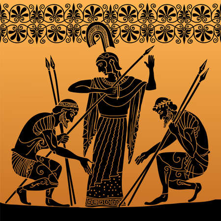 Ancient Greek painting on the dishes. Two warriors in armor with spears in their hands bowed before a woman in a tunic.