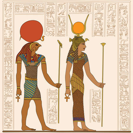 Ancient Egyptian papyrus depicting two figures with scepter in their hands. Hieroglyphs signs and symbols on the wall. Stock Illustratie