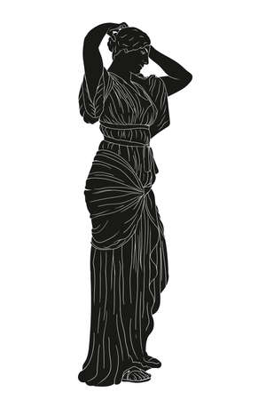 Young beautiful girl in a tunic straightens her hair. Ancient Greek style vector drawing isolated on white background.
