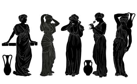 The figure of a young slender woman in a tunic in the ancient Greek style. Set of isolated images on a white background.