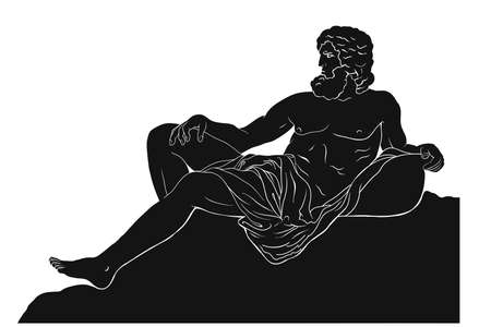 The ancient Greek god Zeus sits and looks away. Vector drawing Isolated on a white background. Stock Illustratie