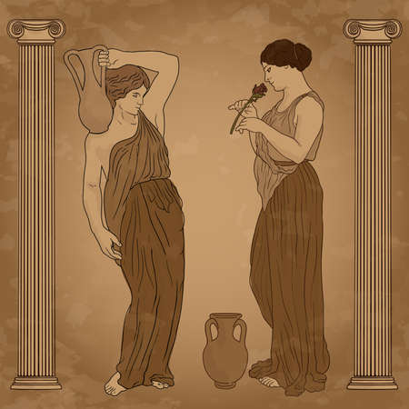 Two young slender ancient Greek women in jugs in the temple between the columns are standing and talking.