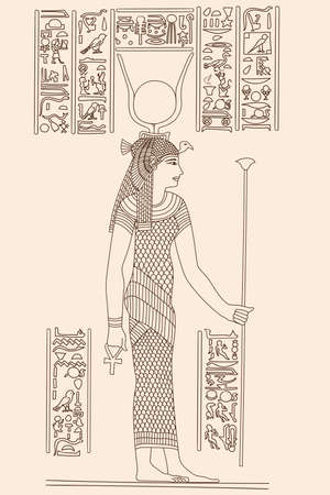Ancient Egyptian papyrus depicting a young woman holding a scepter in her hands. Hieroglyphs signs and symbols on the wall. Stock Illustratie