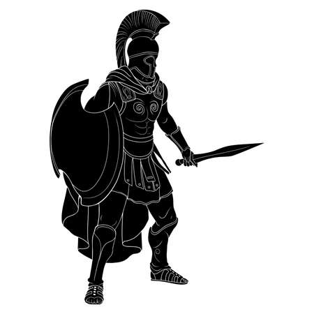 Roman Empire warrior in armor and a helmet with a weapon in hand stands ready for attack and defense isolated on white background.