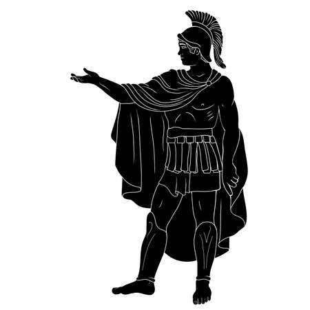 An ancient Roman legionary commander in armor and a cape and commands the soldiers. Figure isolated on a white background.