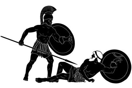 The mythological plot of Homer. Achilles defeats Hector. An ancient Greek warrior with a spear and a shield in his hands stands over the defeated enemy. Two figures are isolated on a white background. Vettoriali