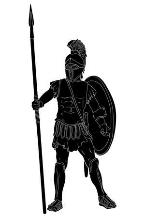 Ancient greek warrior in armor and a helmet with a weapon in hand stands ready for attack and defense isolated on white background.