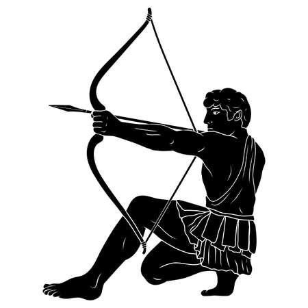 The ancient Greek hero Hercules shoots from a bow at a target. Silhouette Isolated on a white background.