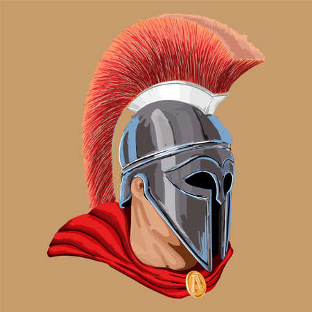 A close-up portrait of an ancient Roman warrior in a helmet with a cape.