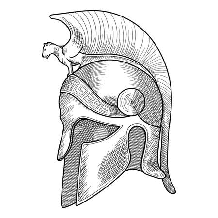 Helmet of the ancient Greek warrior hoplite with a national meander ornament. Simple hand sketch isolated on white background.