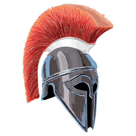 Helmet of the ancient Greek warrior hoplite isolated on white background.