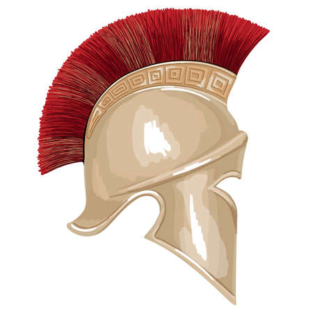 Helmet of the ancient Greek warrior hoplite with a national meander ornament isolated on white background.