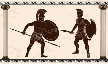 Two ancient Greek warriors with weapons in their hands are fighting.