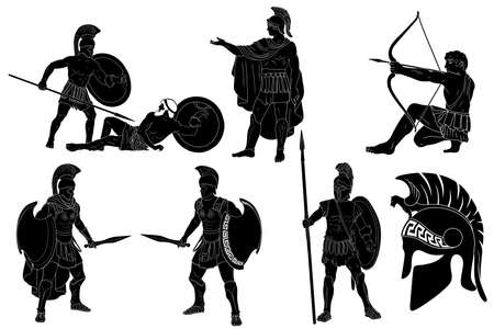 Set of drawings of ancient Greek and Roman soldiers.