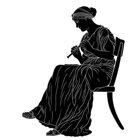 An ancient Greek woman in a tunic sits on a chair and plays the pipe.