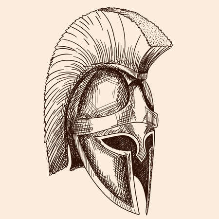 Helmet of the ancient Greek warrior hoplite with a national meander ornament. Simple hand sketch isolated on beige background.