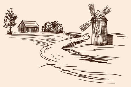 Countryside landscape with wooden houses and a mill. Pencil hand sketch on a beige background.