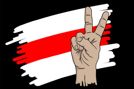 Hand demonstrating the gesture of victory against the background of the flag of the Belarusian opposition.
