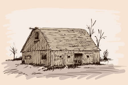 An old village cattle shed with open doors. Hand sketch on a beige background.