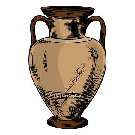 Ancient greek vase with national ornament meander isolated on white background.