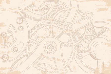 Vintage old beige background with gears from the clockwork. 矢量图像
