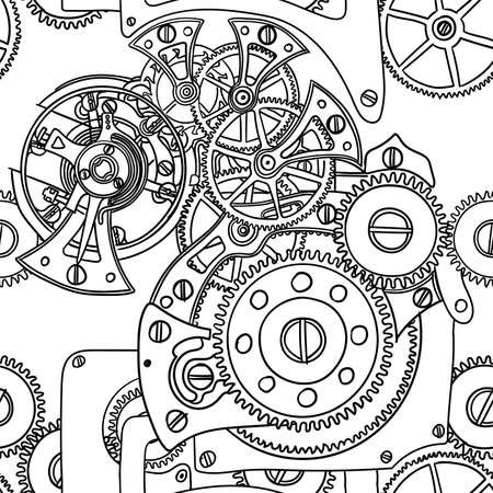 Seamless pattern hand-drawing clockwork isolated on white background.