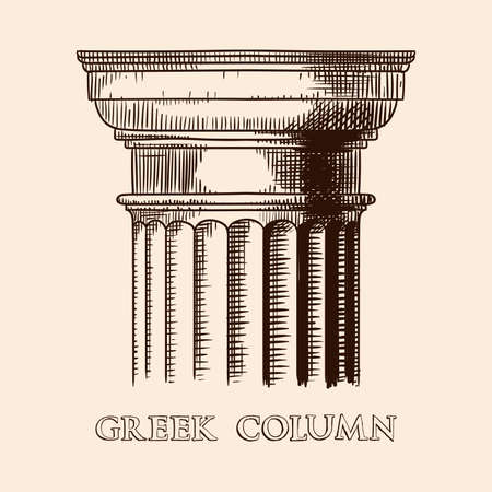 The capital of an ancient Greek column. Hand drawing sketch isolated on beige background. Banco de Imagens - 155796247