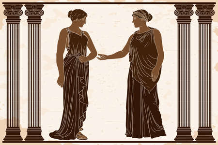 Two ancient Greek women in tunics stand in the temple between two columns and talk.