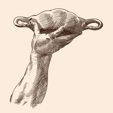 A man's hand is lifted up and holds a bowl with two handles. Close-up. Illustration isolated on a beige background.