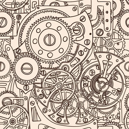 Seamless pattern hand-drawing clockwork isolated on beige background.