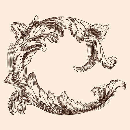 Vintage floral ornament in the old classic style for print and web design.