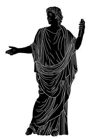 A young man in an ancient Greek tunic with a papyrus scroll in his hand reads a poem and gestures. Black figure isolated on a white background.