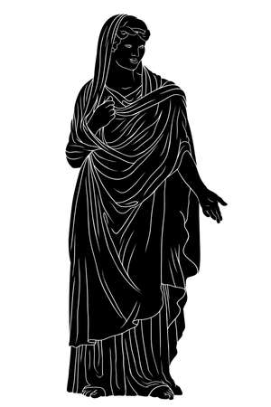 An ancient Greek young woman in a tunic and cape stands and gestures. 矢量图像
