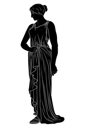 An ancient Greek young woman in a tunic stands and looking away.