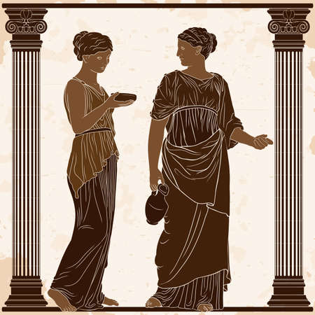 Two ancient Greek women in tunics with a jug and a bowl in their hands stand in the temple between two columns.