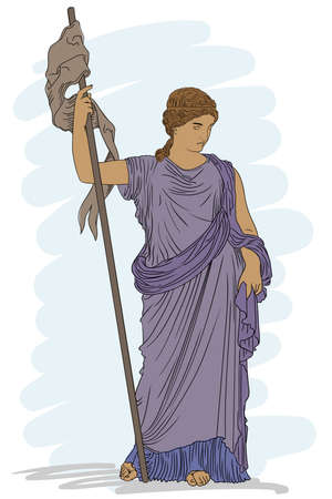 A young slender woman in an ancient Greek tunic with a pennant in her hand.