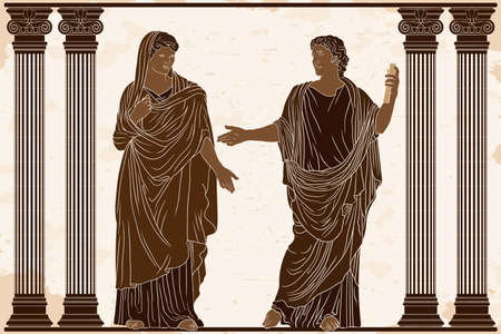 An ancient Greek poet man with a papyrus scroll in his hands reads poetry for a woman in a tunic in the temple between the columns. 矢量图像