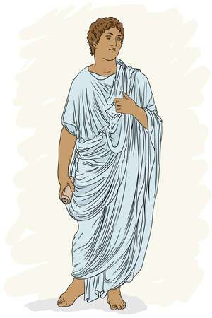 A young man in an ancient Greek tunic with a papyrus scroll in his hand reads a poem and gestures.
