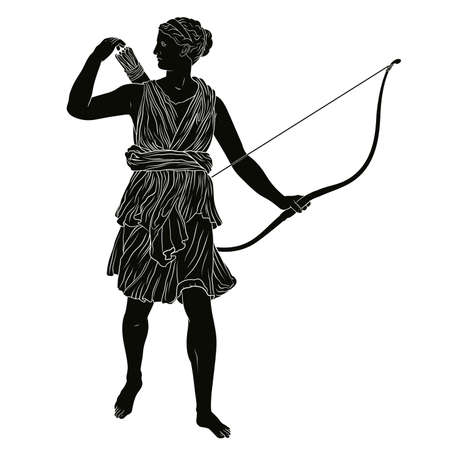 The ancient Greek goddess of the hunt Artemis with a bow and arrow in her hands.